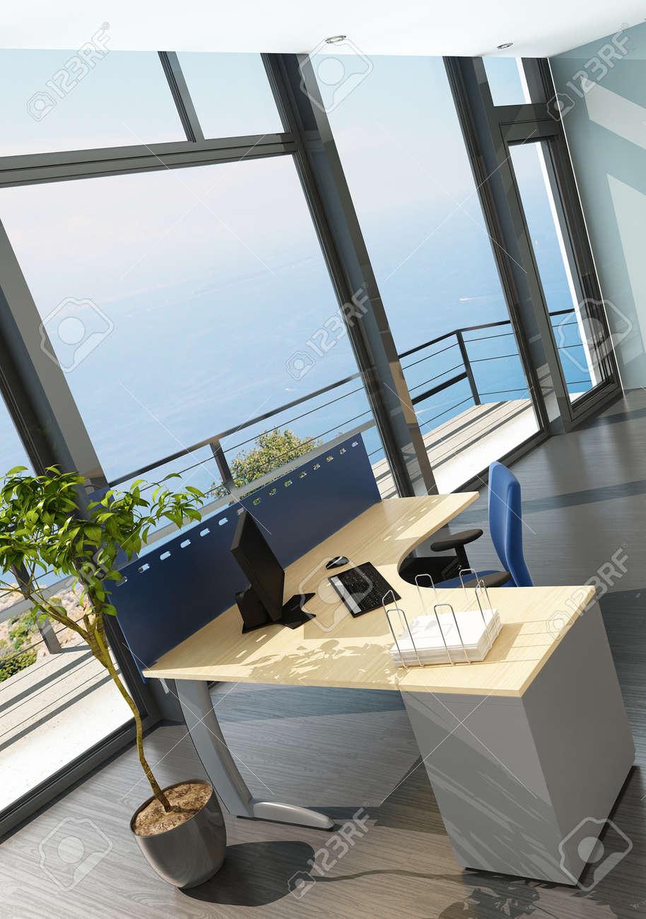 Modern office interior with spledid seascape view Stock Photo - 23064504