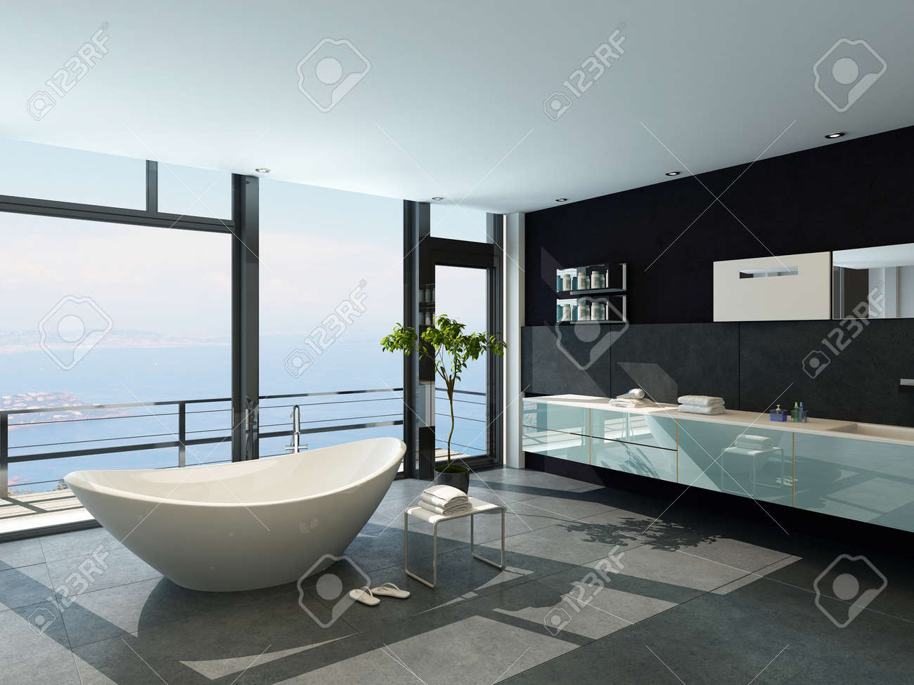 modernissimo design contemporaneo bagno interno con vista sul mare ... - Arredo Bagno Modernissimo