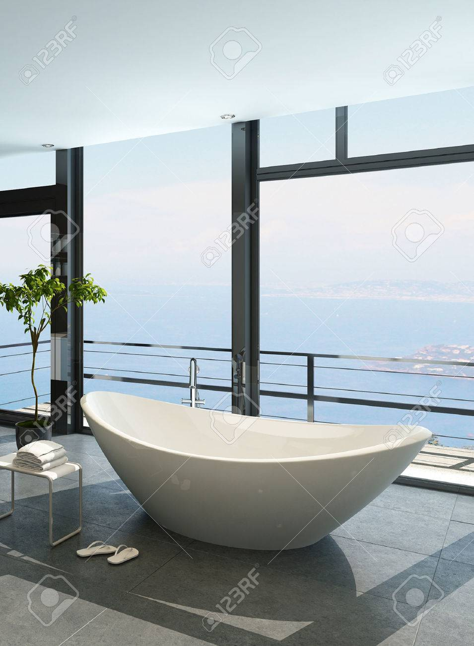Expensive Luxury Bathtub Against Panoramic Window With Seascape ...