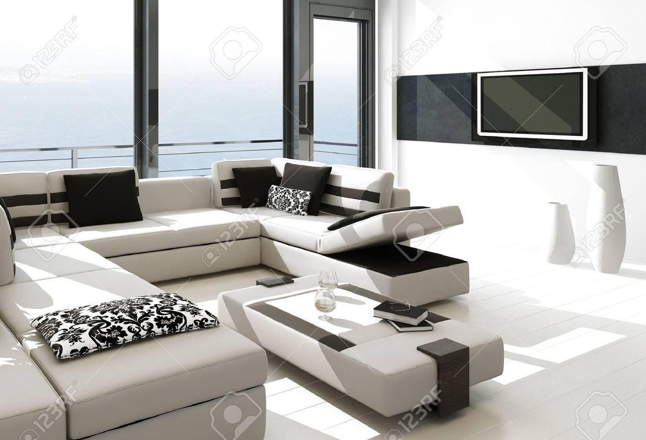 Modern white living room interior with splendid seascape view Stock Photo - 23064798