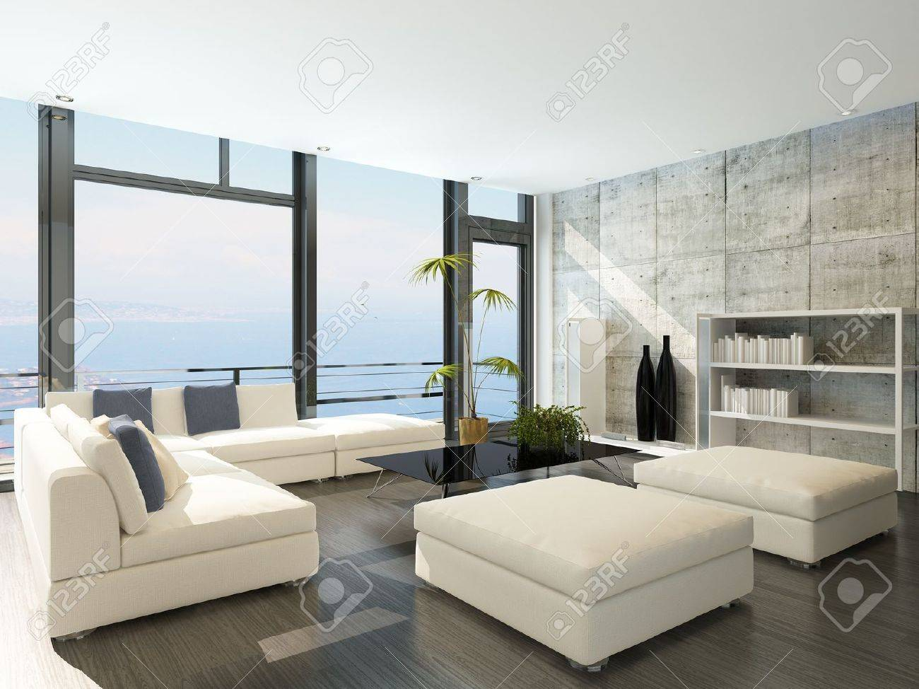 Modern Living Room With Huge Windows And Concrete Stone Wall Stock ...