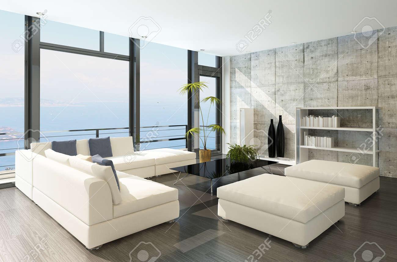 Modern Living Room With Huge Windows And Concrete Wall Stock Photo - Livingroom windows