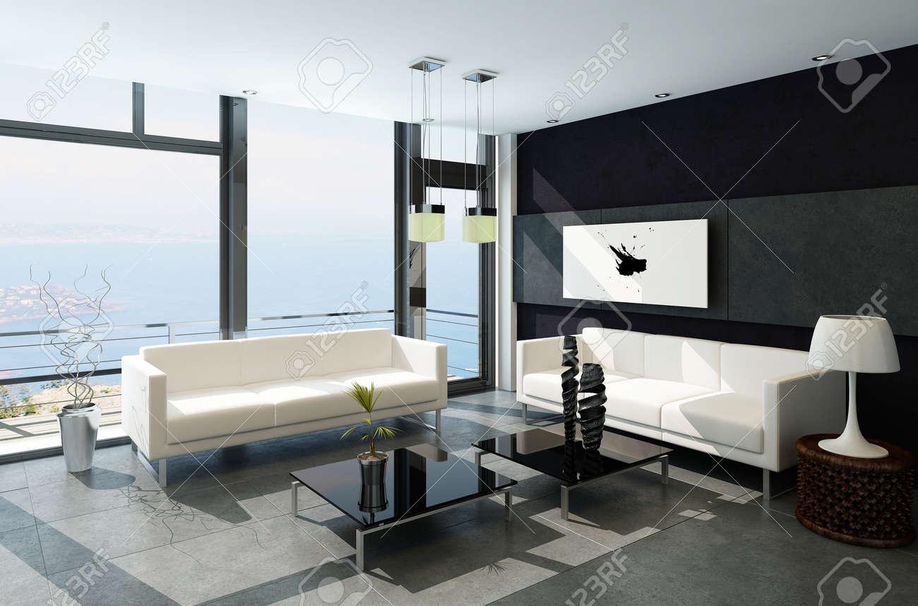 Moderne wohnzimmer mit großen fenstern und schwarzen steinmauer ...
