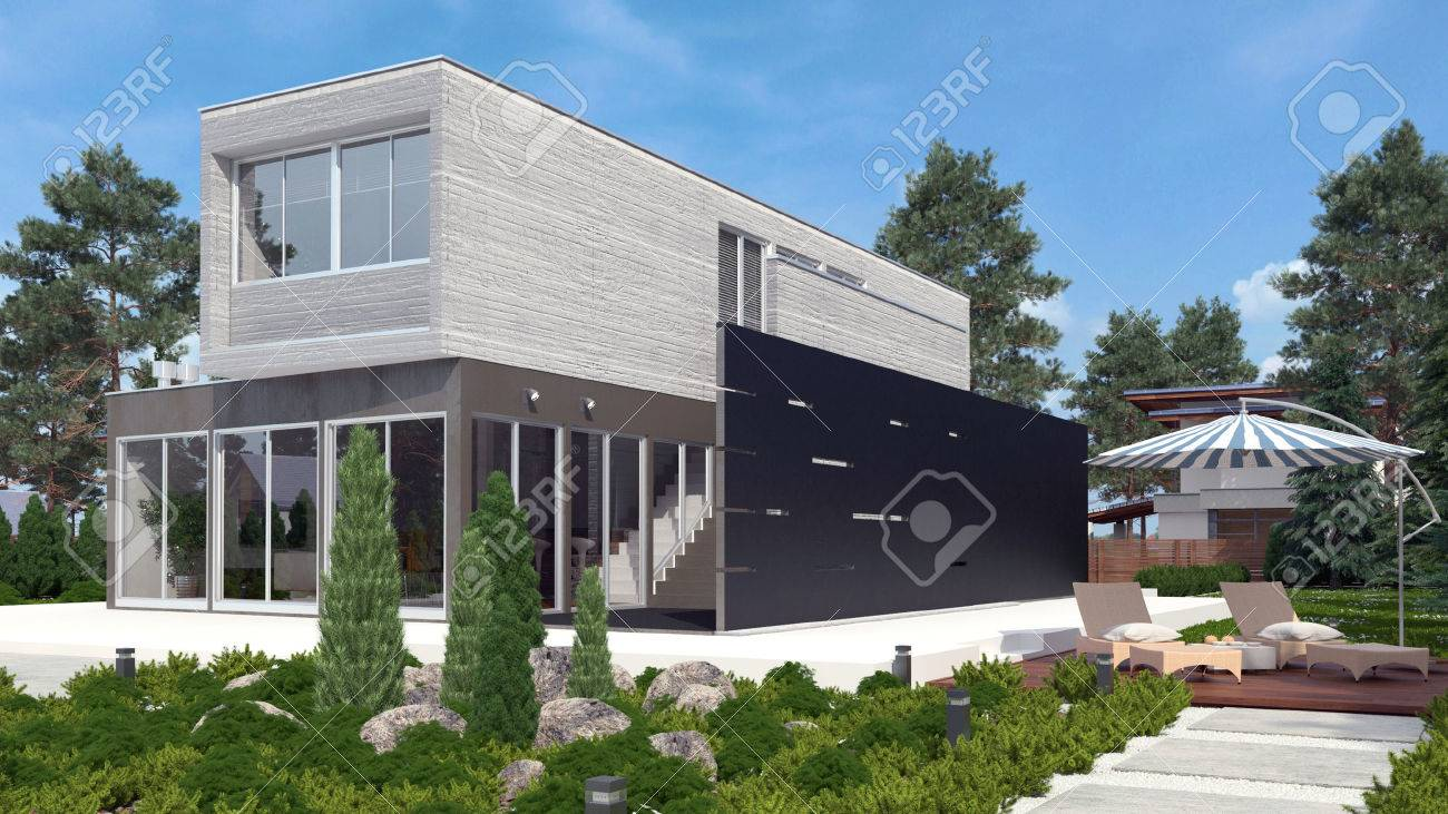 modern house exterior with garden stock photo, picture and royalty
