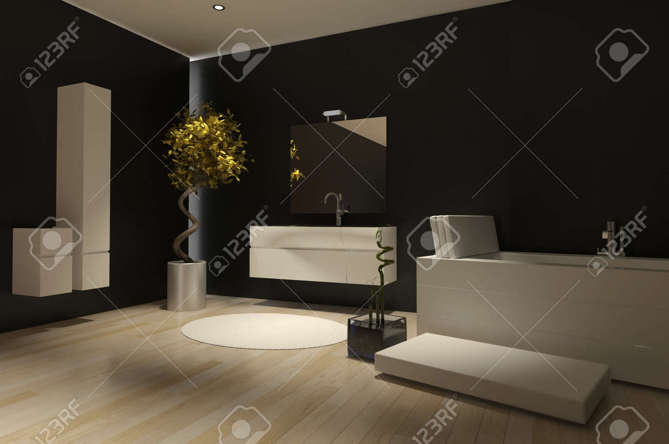 Banque Du0027images   Moderne Sombre Salle De Bains Avec Baignoire Intérieur  Noir En Céramique