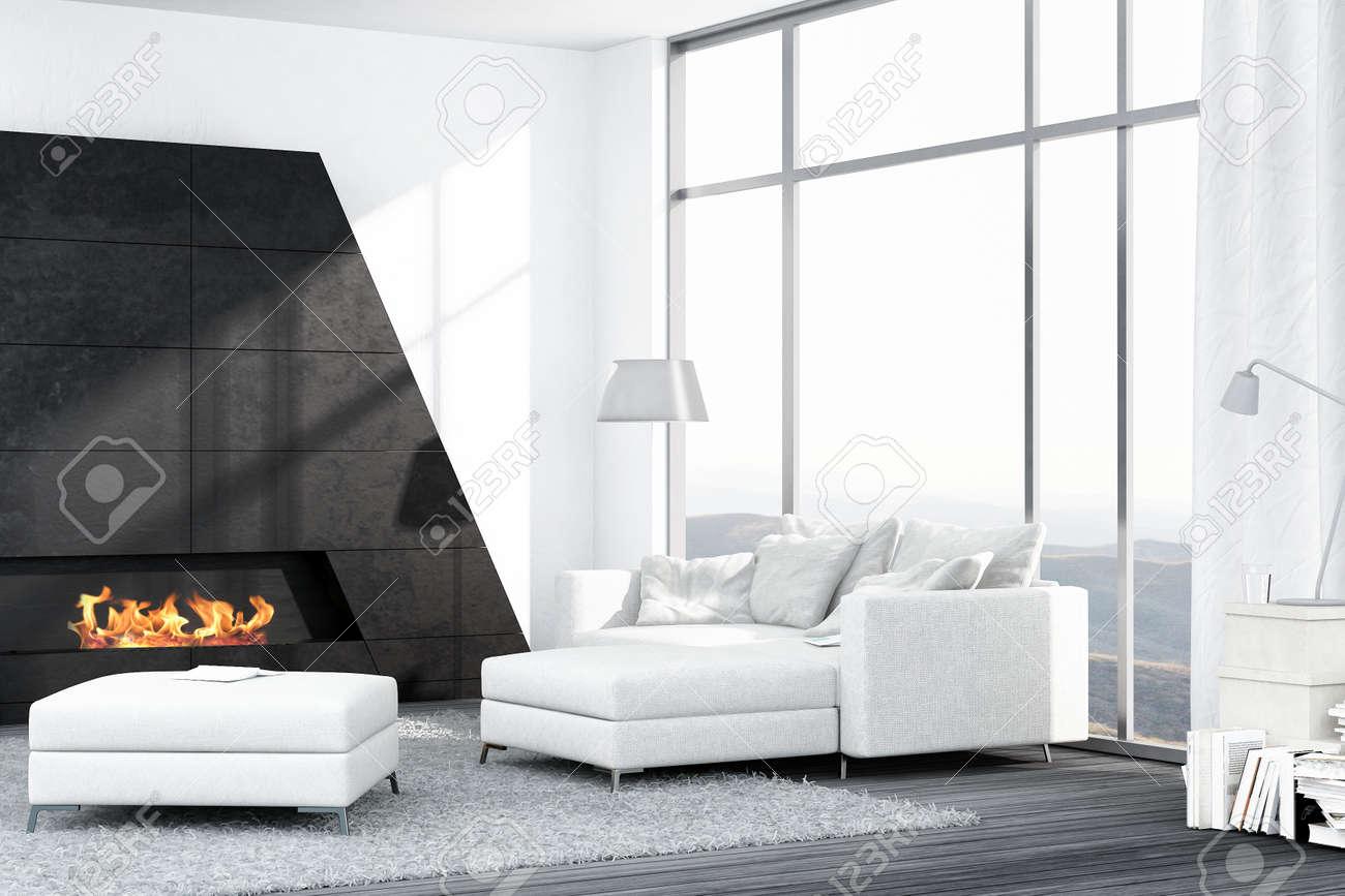 Exceptional Luxus Wohnzimmer Interieur Mit Weißen Couch Und Kamin Standard Bild    25065095 Amazing Pictures