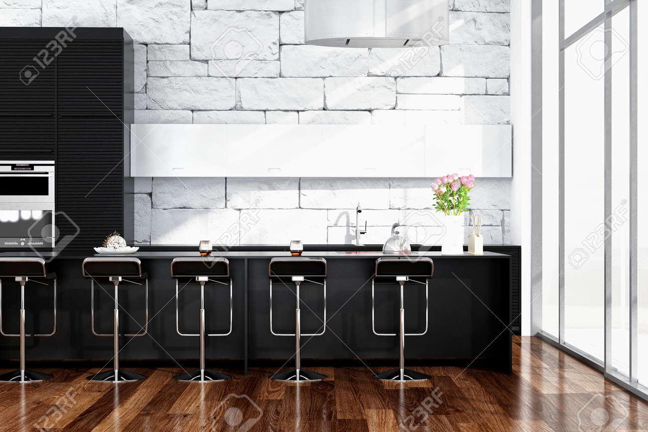 Moderne Schwarze Küche Interieur Mit Steinmauer Lizenzfreie Fotos ...