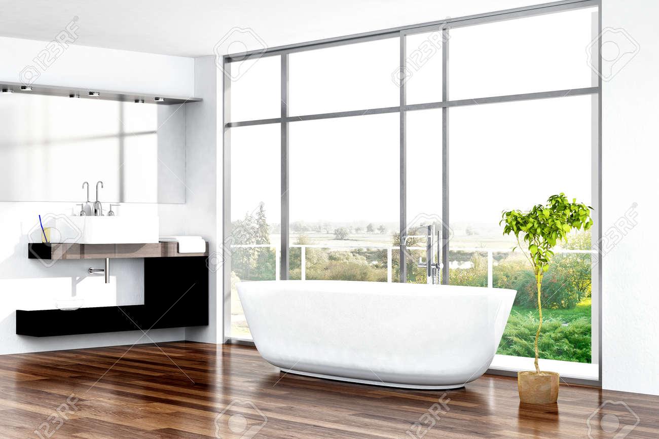 Sunny Bathroom Interior With White Bathtub Against Huge Window Stock ...