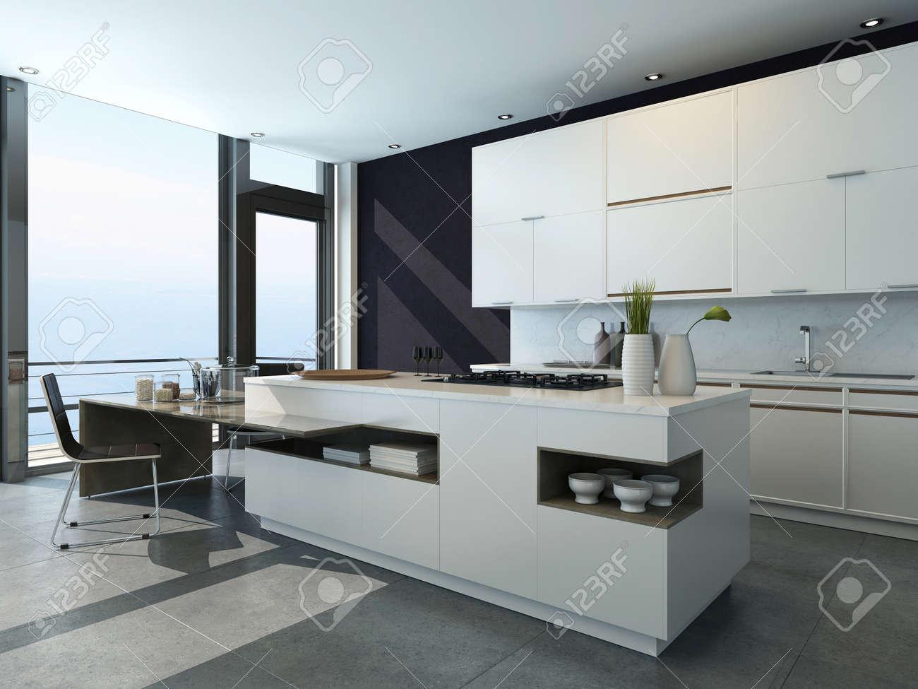 Schwarz Weiss Kuche Interieur Mit Modernen Mobeln Lizenzfreie Fotos