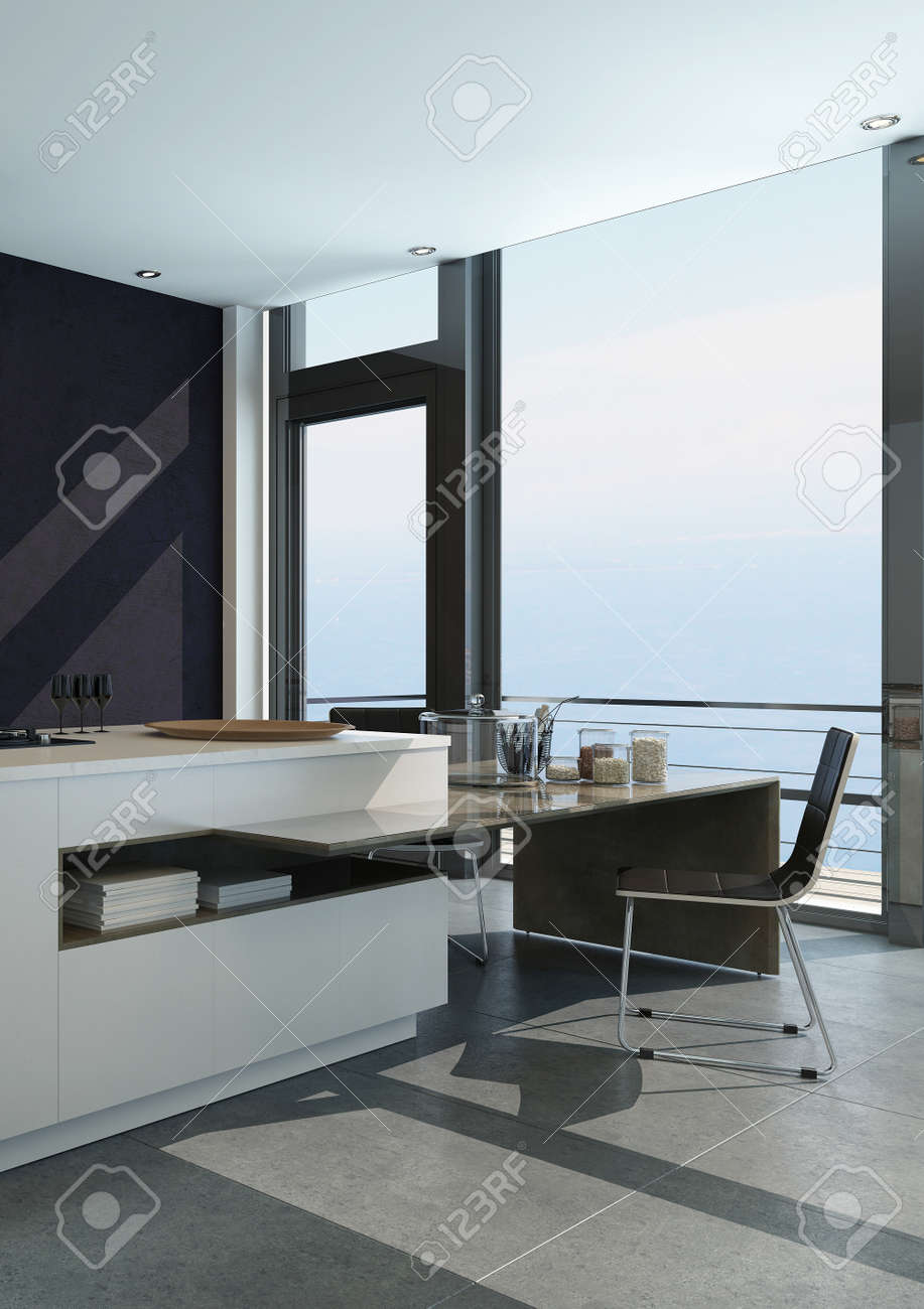 Black and white kitchen interior with modern furniture Stock Photo - 25065128