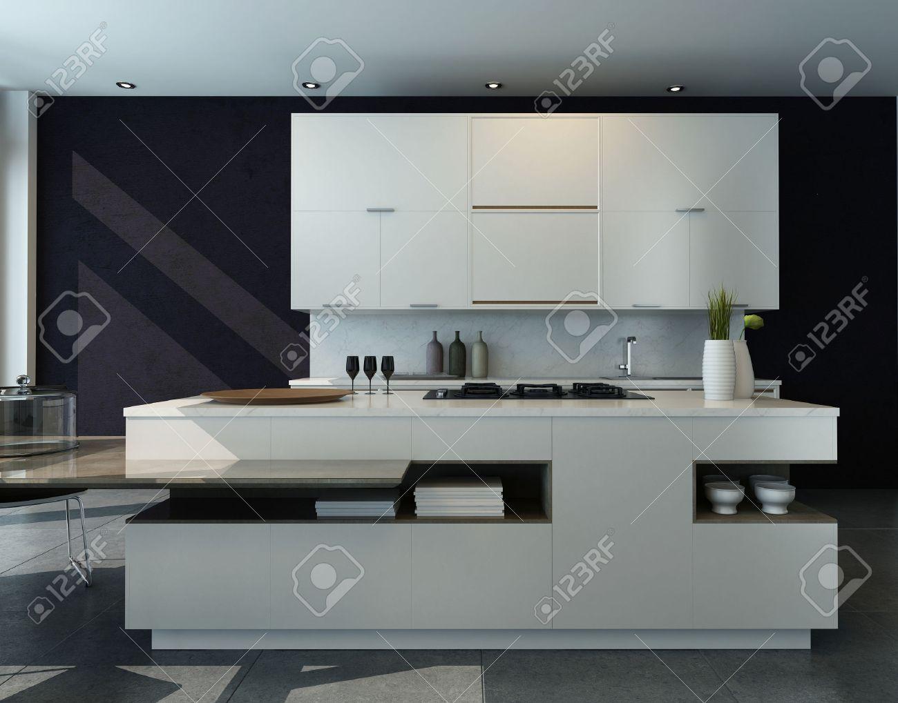 Zwart en wit keuken interieur met moderne meubels royalty vrije ...