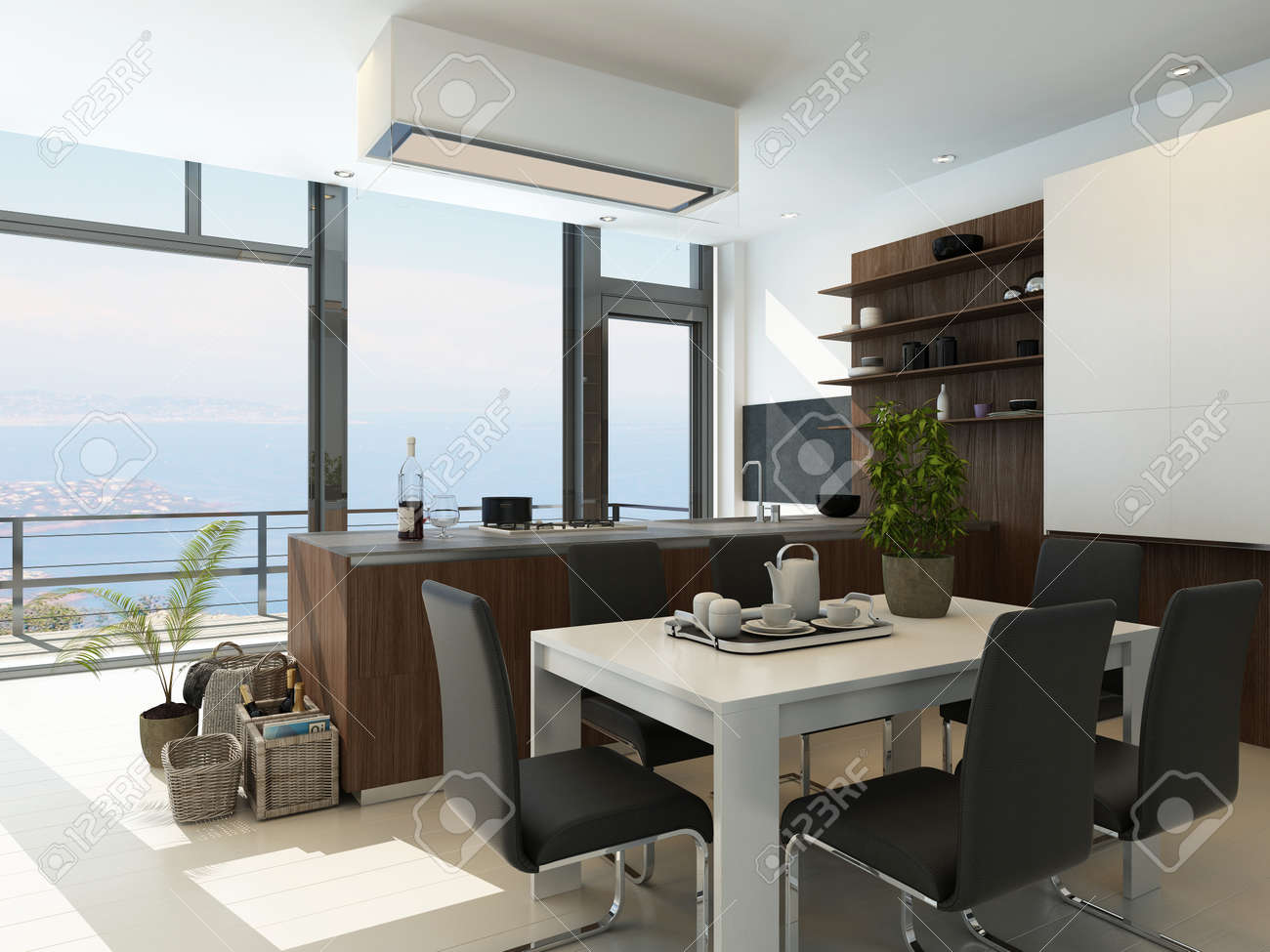 Modern white kitchen interior with landscape view Stock Photo - 25065169
