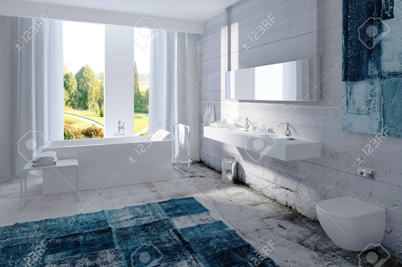 White bathroom interior with concrete wall Stock Photo - 25065132
