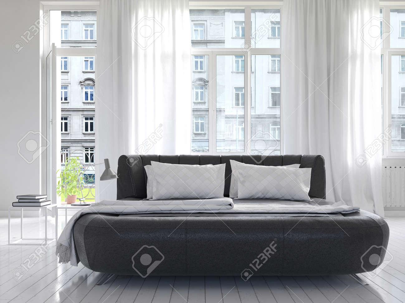Modern lyx vit soligt sovrum inredning med svart king size säng ...