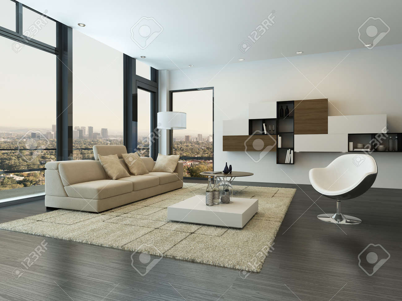 Moderne Woonkamer Interieur Met Design Meubels Royalty-Vrije Foto ...