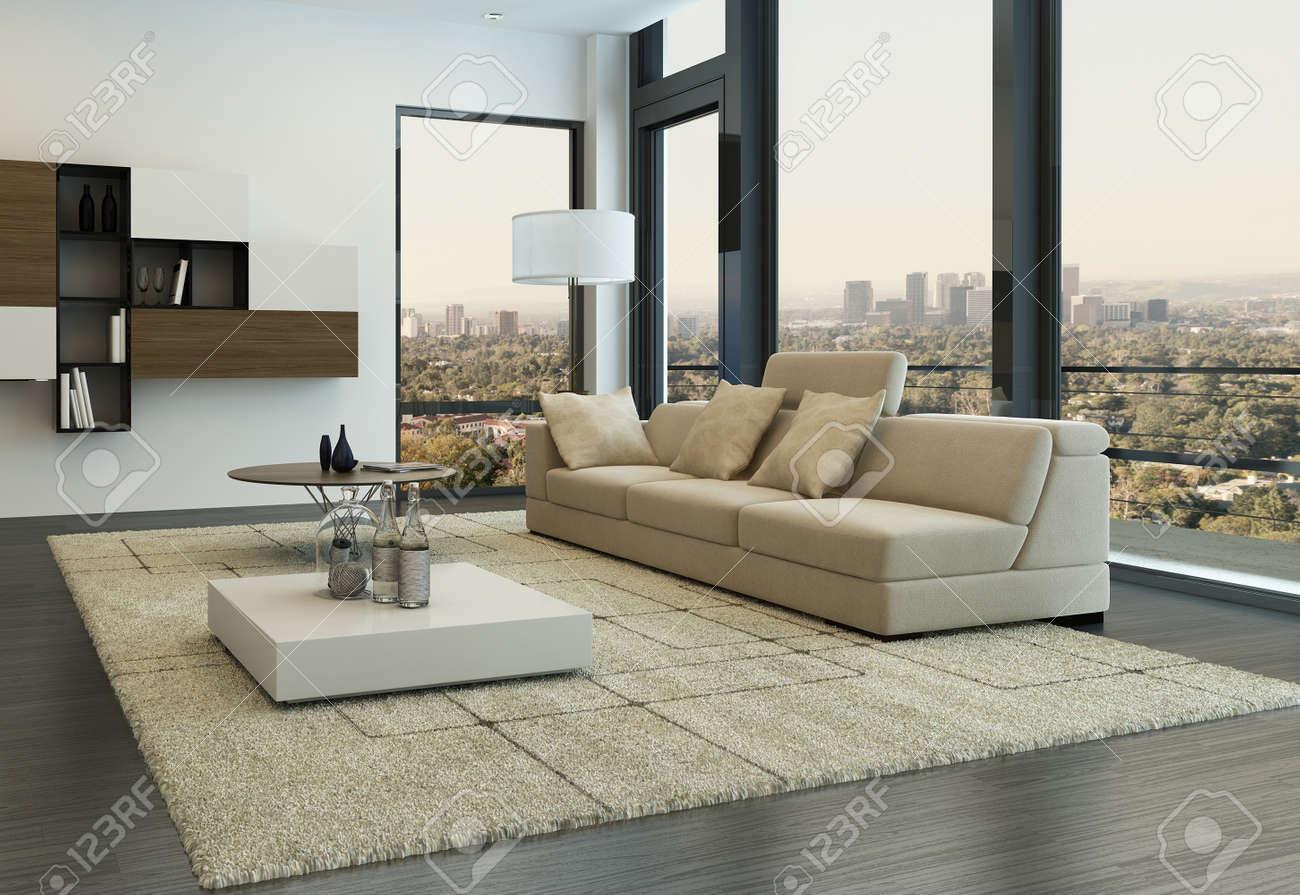 Modernt vardagsrum inredning med designmöbler royalty fria ...