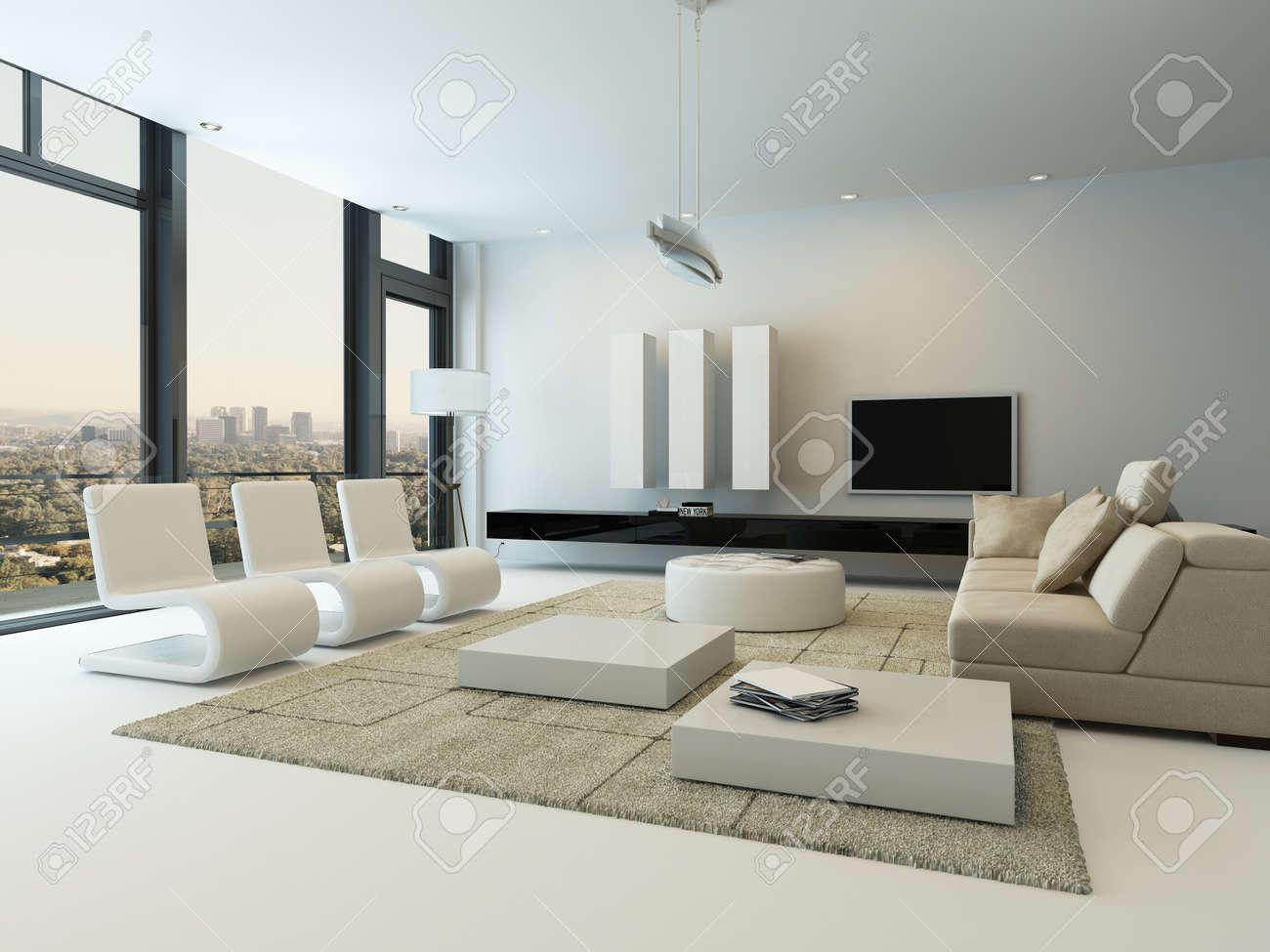 Intérieur Moderne De Salon Avec Des Meubles Design Banque D\'Images ...