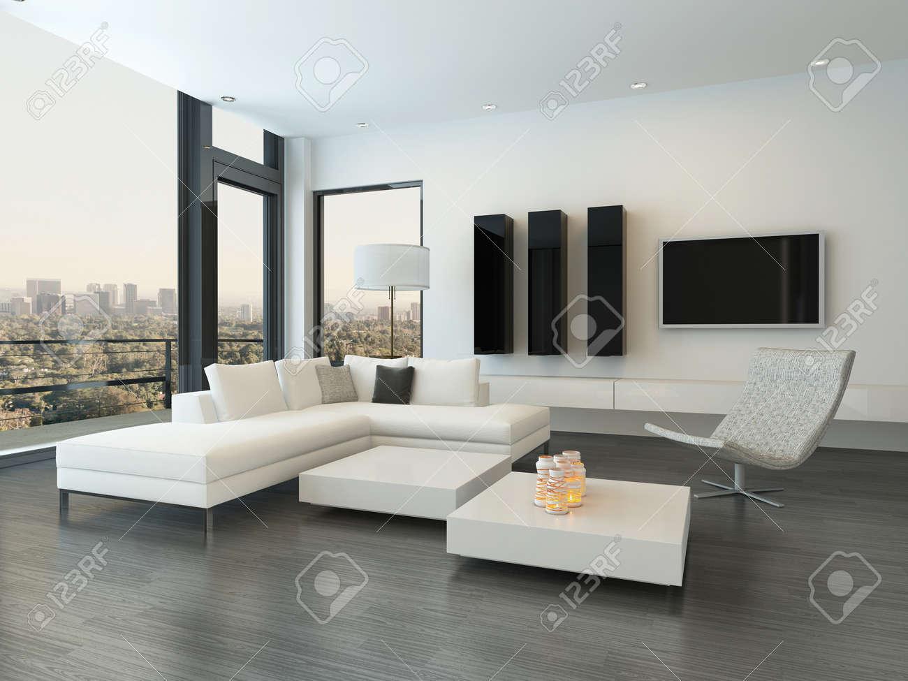 Moderne Wohnzimmer Innenraum Mit Design-Möbeln Lizenzfreie Fotos ...