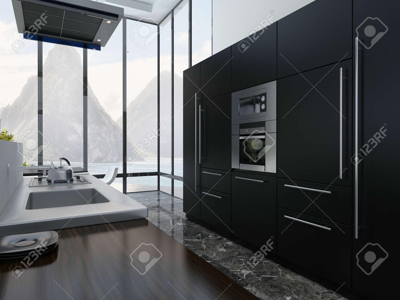 Imagen Del Interior De La Cocina Con Electrodomesticos Negros Fotos - Electrodomesticos-negros