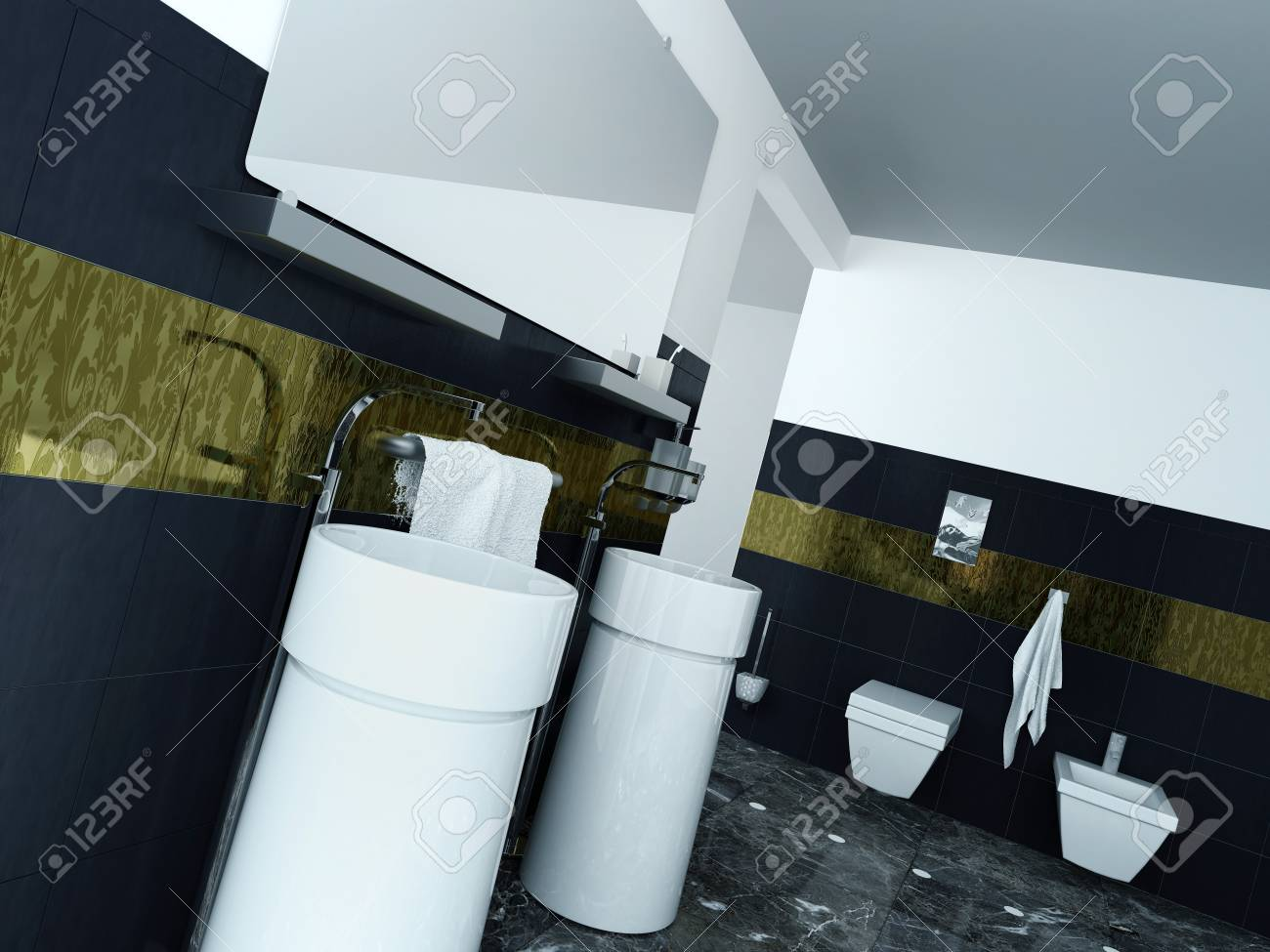 Picture Of Modern Bathroom Interior With Wash Basin And Black ...