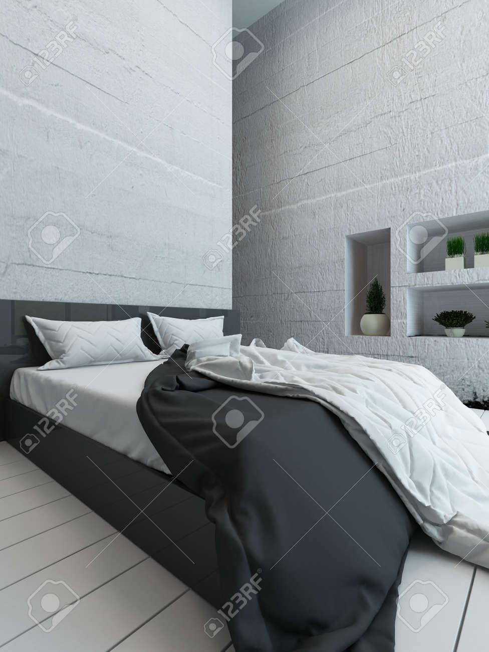 Photo de l\'intérieur blanc de chambre avec un lit et une alcôve