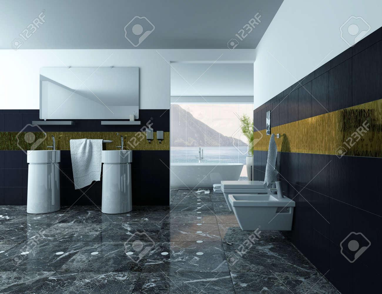 Rivestimento bagno pietra nera : rivestimento bagno grande formato ...