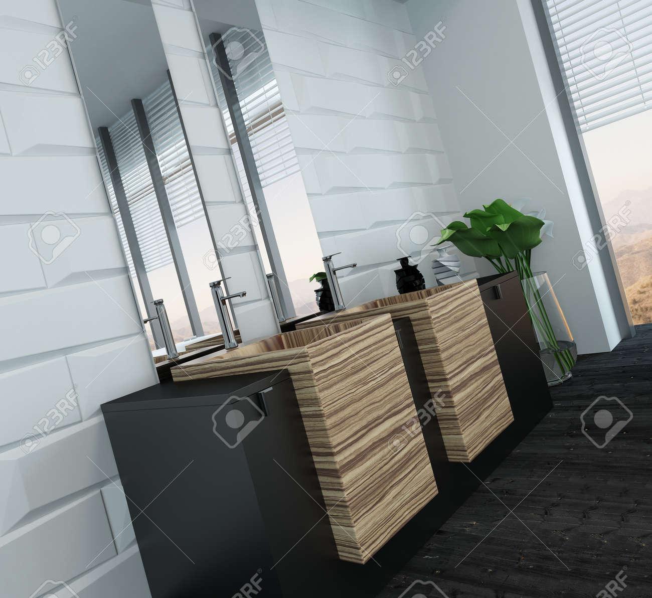 Bild Der Modernen Badezimmer Interieur Mit Holzmöbeln Lizenzfreie ...