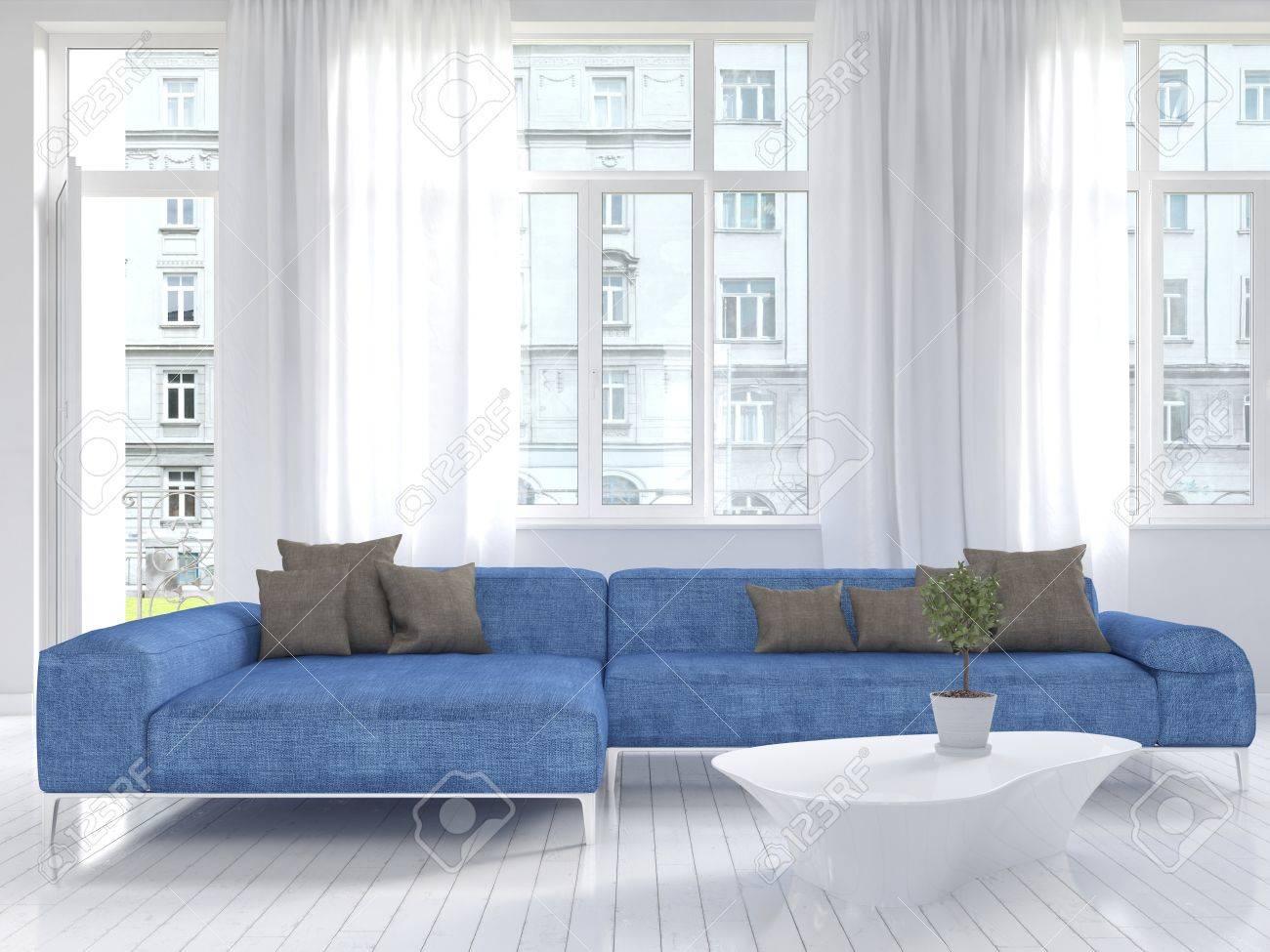 Foto van witte woonkamer interieur met blauwe bank royalty vrije ...