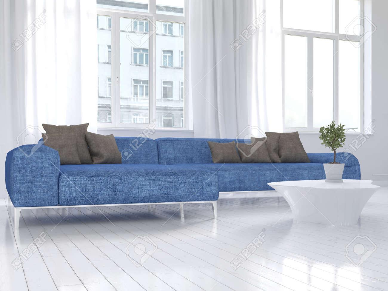 Bild Der Weißen Wohnzimmer Innenraum Mit Blauen Couch Lizenzfreie