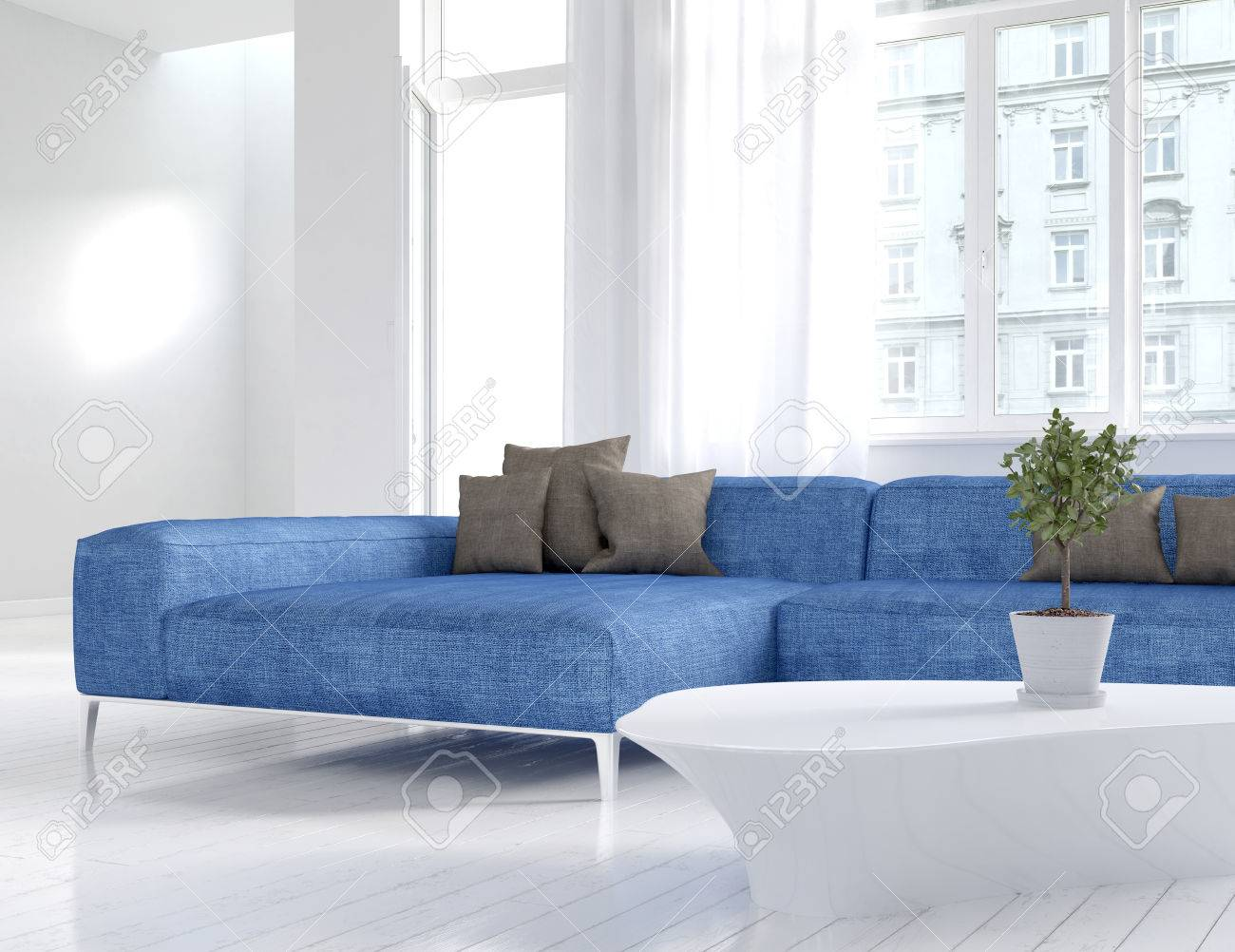 Picture Of White Living Room Interior With Blue Couch Stock Photo ...