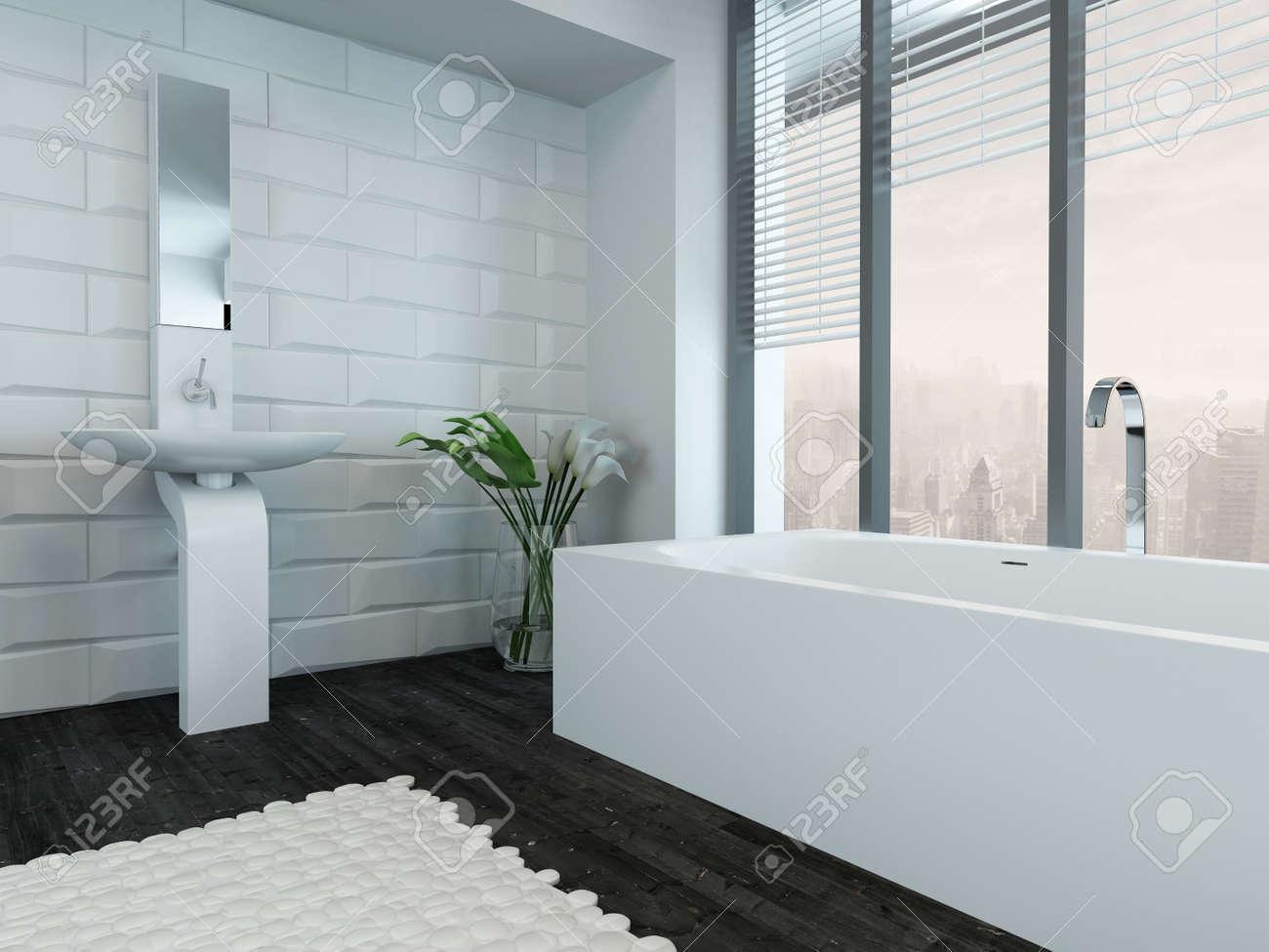 Photo de l\'intérieur de salle de bains de luxe moderne avec baignoire