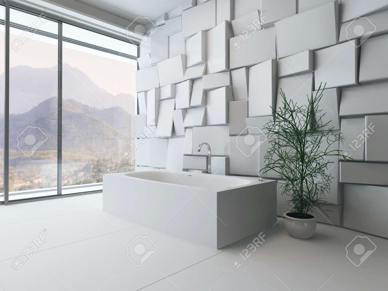 Modern Badkamer Interieur : Plaatje van moderne luxe badkamer interieur met bad tegen mozaïek