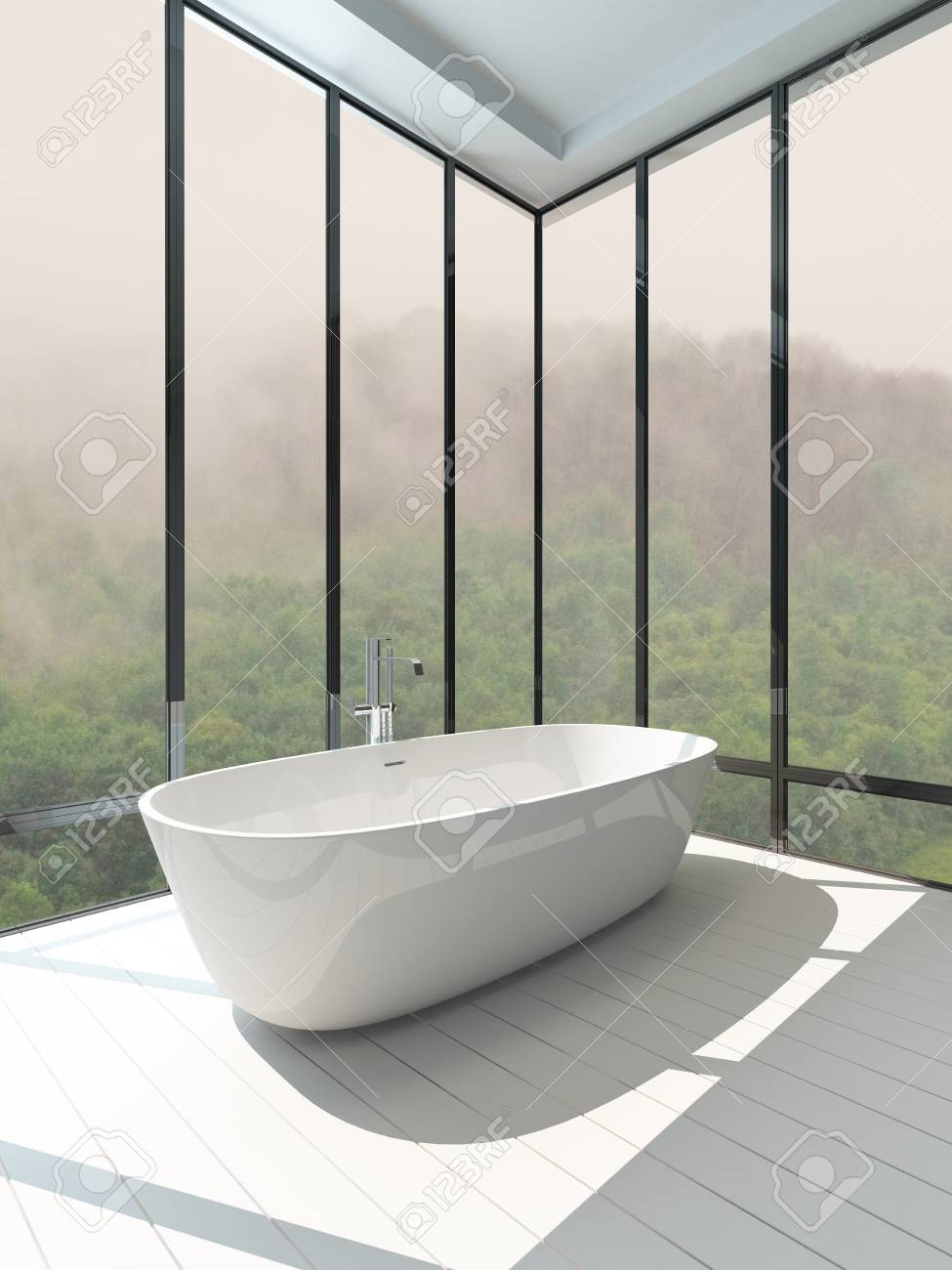 Picture Of Empty Room Interior With Standalone Bathtub Stock Photo    27990634