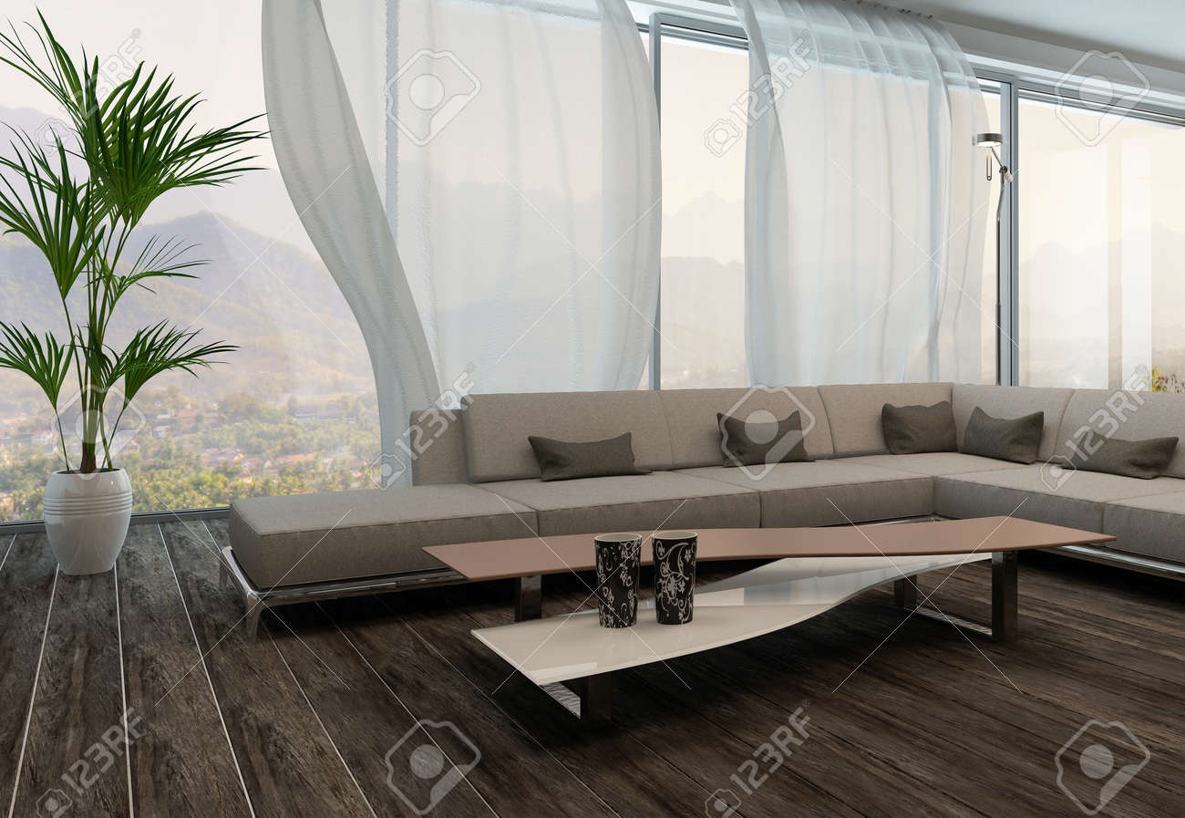 White Curtains In Living Room Modern Living Room Interior With White Curtains Stock Photo
