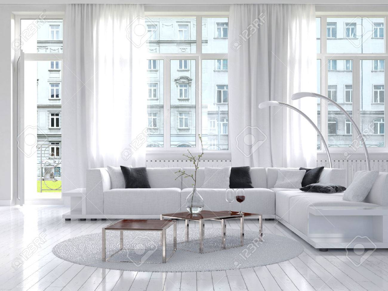 Picture of amazing white loft living room interior Stock Photo - 28283567