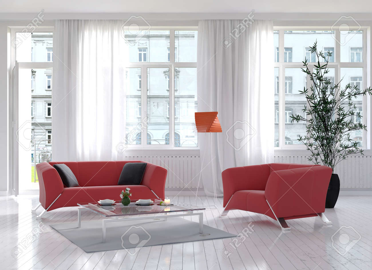 Sunny Light Living Room Interior With Red Couch And Floor Lamp Stock ...
