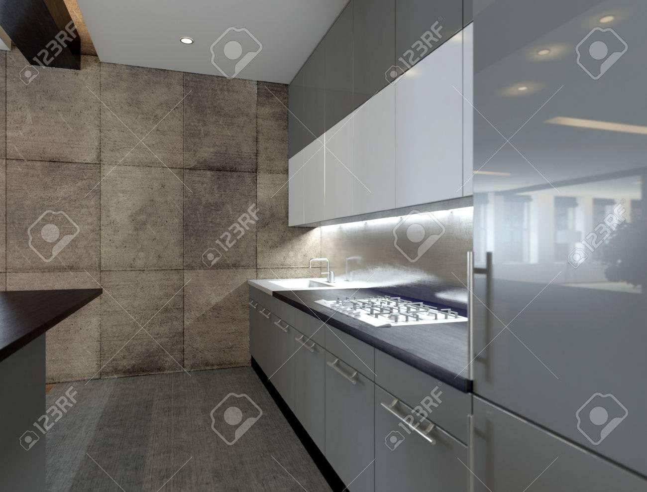 Bild Der Modernen Küche Interieur Mit Steinmauer Lizenzfreie Fotos ...