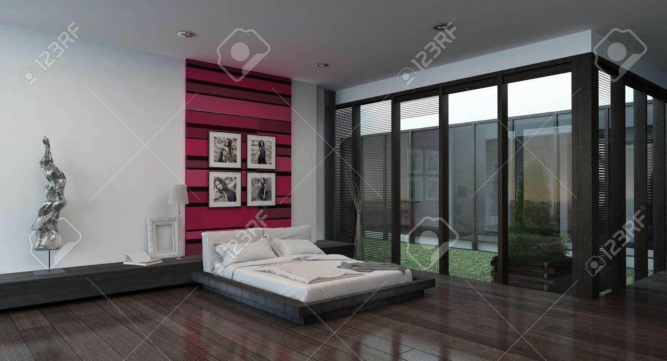 immagine di accoglienti interni camera da letto con rosso parete ... - Pareti Camera Da Letto Colorate