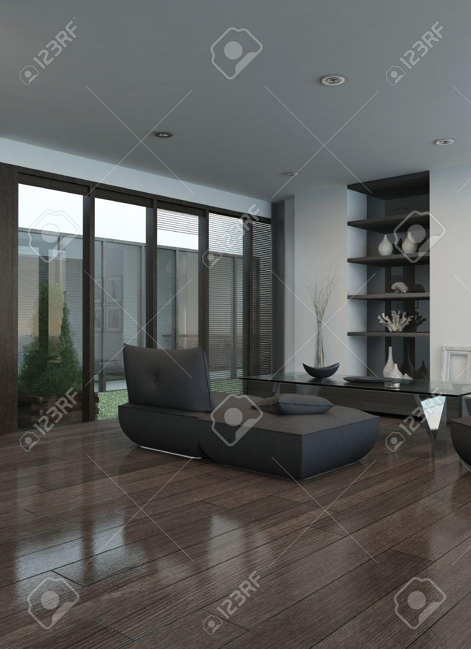Wohnzimmer Couch Moderne Wohnzimmer Innenraum Mit Grauen Couch Und Parkettboden