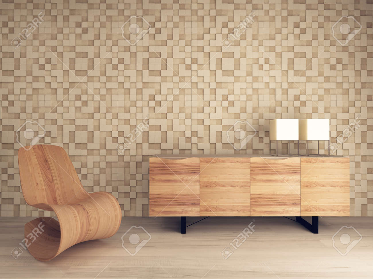 Picture Of Wooden Lounge Chair Against Mosaic Pattern Wall With Sideboard  Stock Photo   28283437