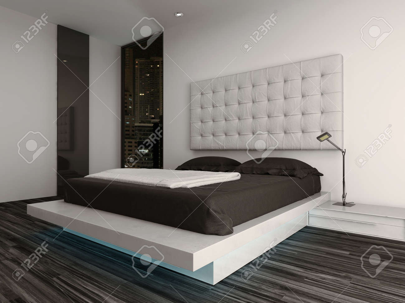 Nice Bedroom Interior With Modern Furniture And Cozy Bed Stock ...