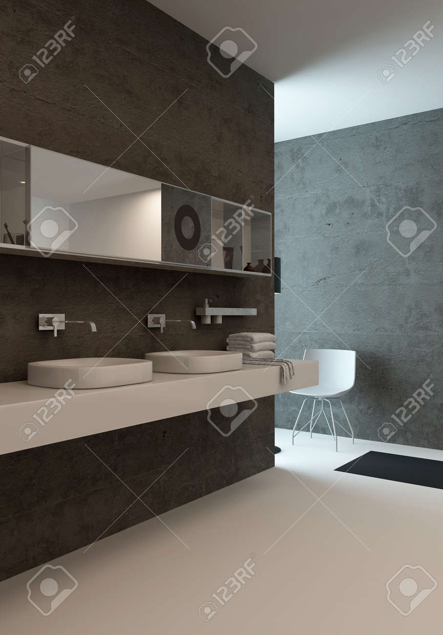 picture of modern bathroom interior with wash basin against