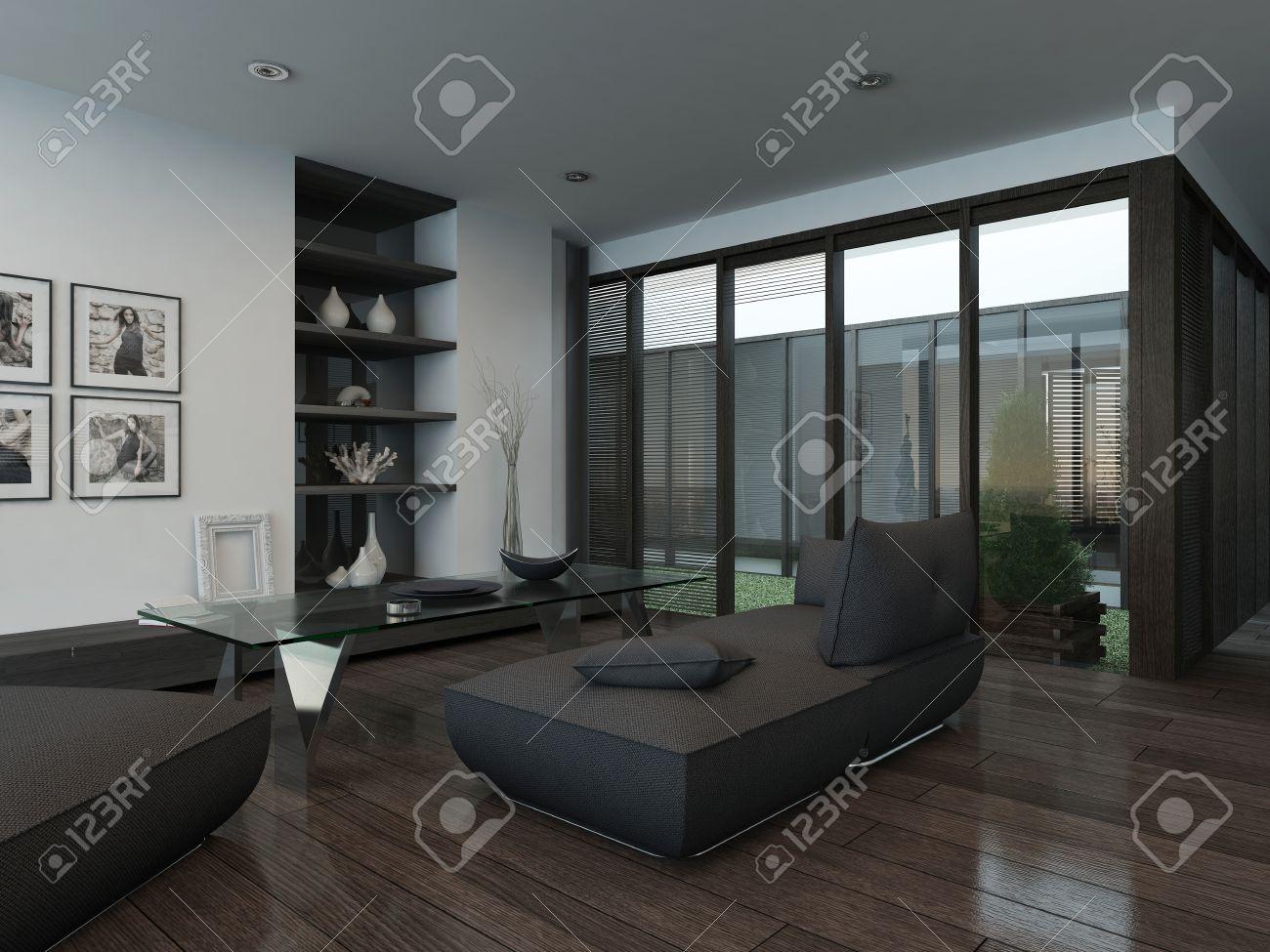 photo  interieur moderne salle de sejour avec un canape gris et parquet