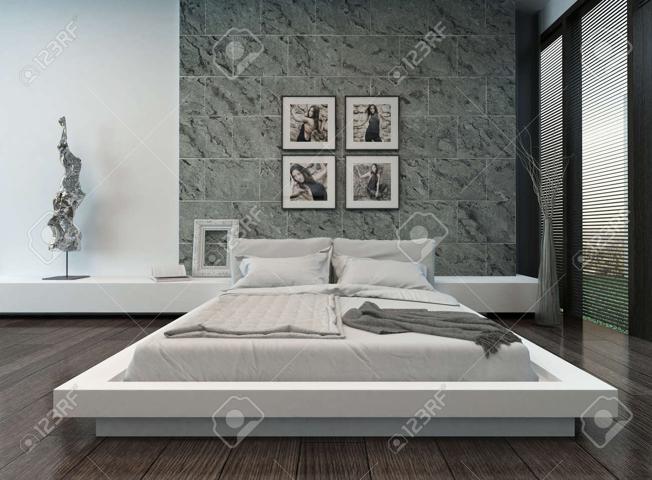 Picture Of Modern Bedroom Interior With Stone Wall Stock Photo ...
