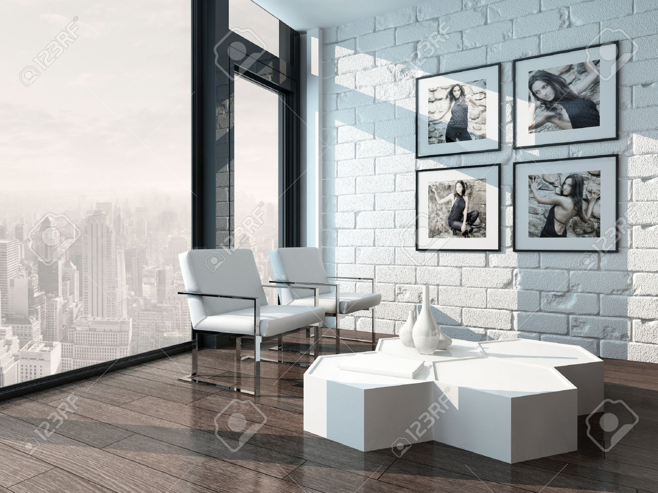 Minimalist Living Room Interior With White Brick Wall And Chairs Stock Photo