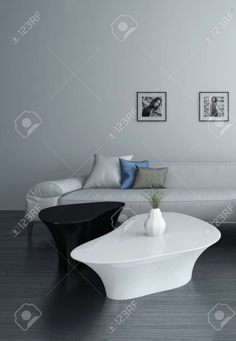 Picture Of Living Room Interior With White Couch And Portraits On Wall  Stock Photo   28685636