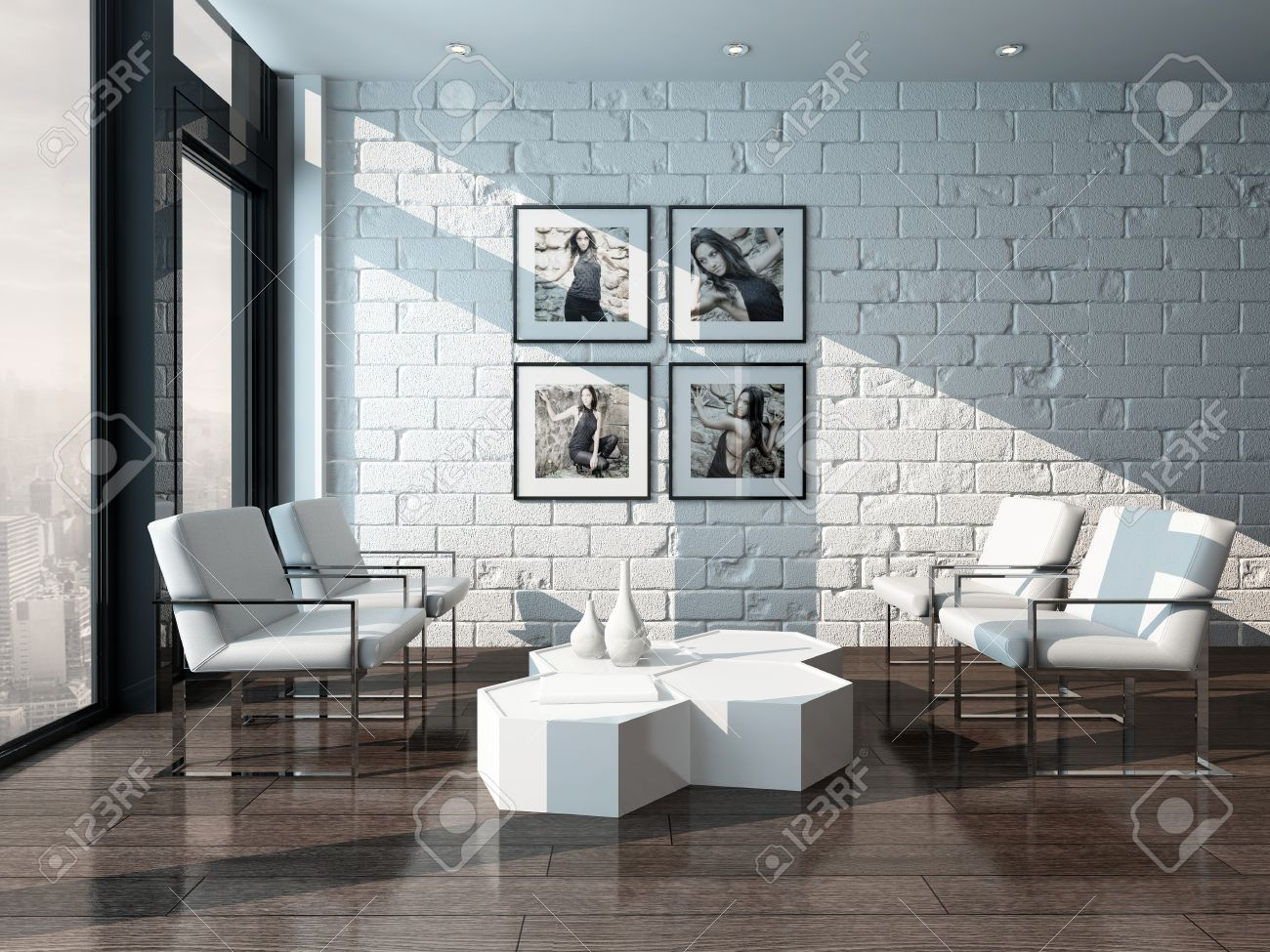 Picture Of Minimalist Living Room Interior With White Brick Wall Stock Photo Picture And Royalty Free Image Image 28685637