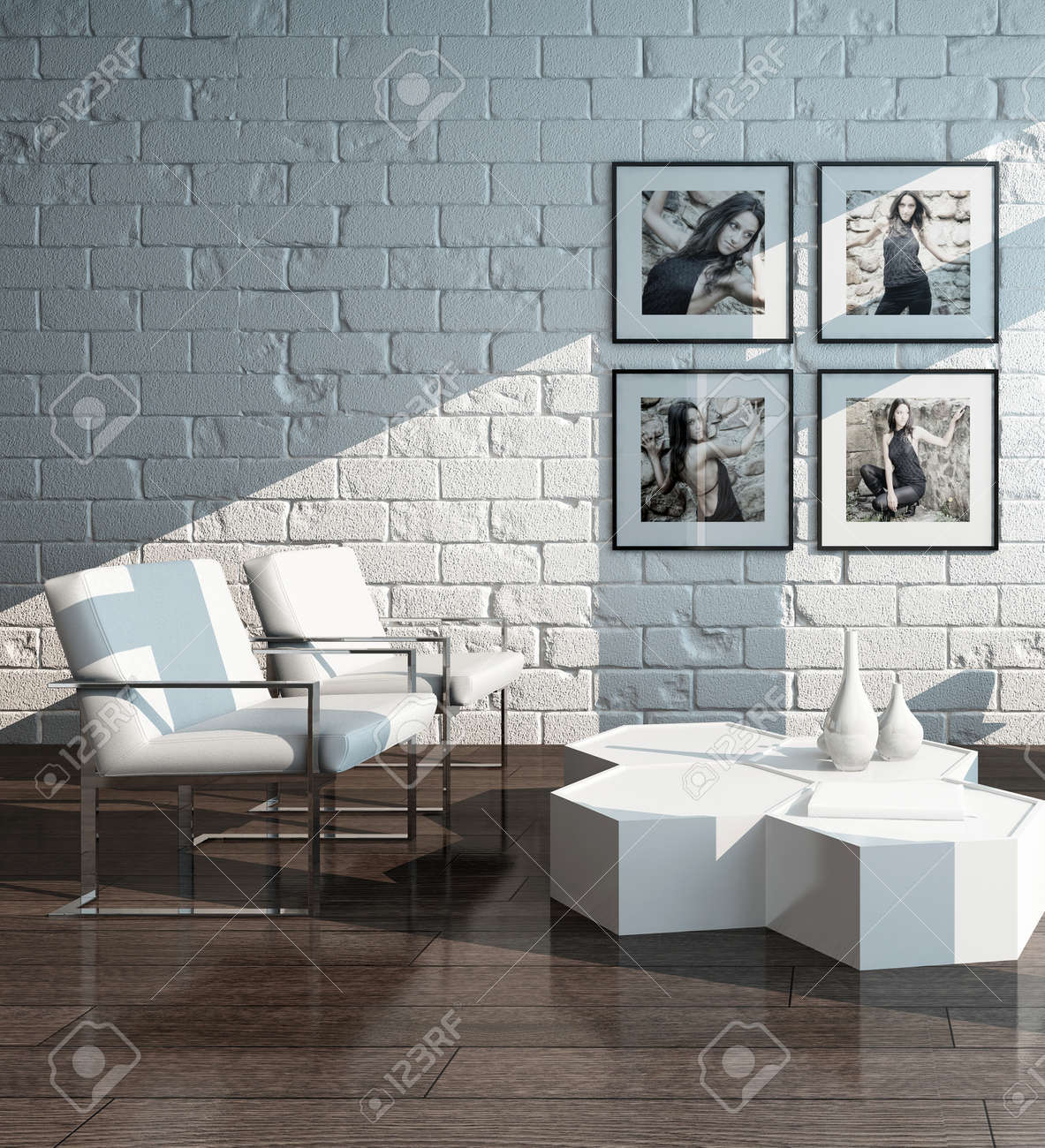 Picture Of Minimalist Living Room Interior With White Brick Wall