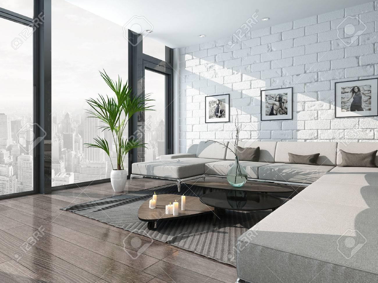 Trevligt vardagsrum inredning med soffa och tegelvägg royalty fria ...