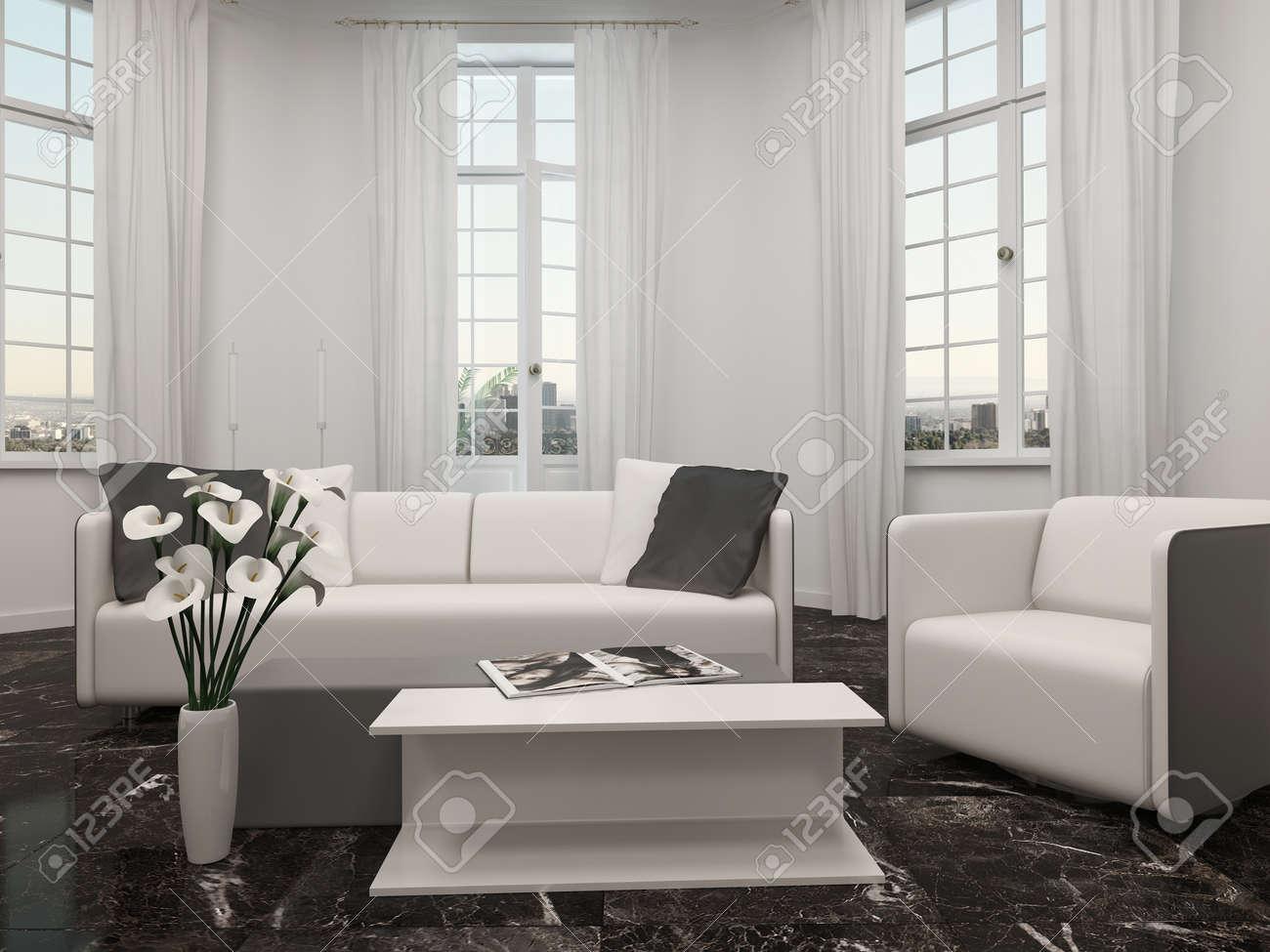 Luxus Wohnzimmer Innenraum Mit Erker Und Weissen Couch Lizenzfreie Bilder